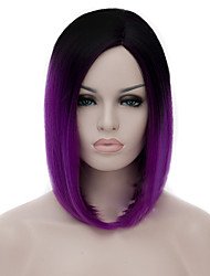 cheap -Synthetic Wig Straight kinky Straight kinky straight Straight Bob Wig Medium Length Purple Synthetic Hair Women's Middle Part Bob Natural Hairline Purple