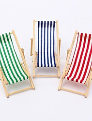 cheap -Scale Foldable Wooden Deckchair Lounge Beach Chair For Gadgets Holder Miniature Dolls House Rack Storage Random Color