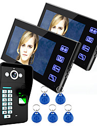 cheap -Ennio Touch Key 7 Lcd Fingerprint Video Door Phone Intercom System Wth fingerprint access control 1 Camera  2 Monitor