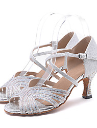 cheap -Women's Latin Shoes Sandal Heel Flared Heel Sparkling Glitter Rhinestone Sparkling Glitter Buckle Golden / Light Green / Pink / Performance / Leather / Salsa Shoes / Professional / EU41