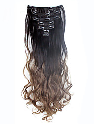 cheap -Quality Wavy Curly Clip In Extension 7Pcs/set 16 Clips De Cheveux Ombre Hair Extensions Dark Brown to Brown 130g