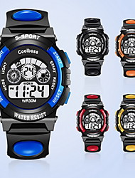 cheap -Coolboss Men/Kid's Black Silicone Band Digital Calendar Noctilucent Sports Watch