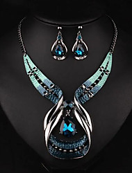 cheap -Women's Jewelry Set Pendant Necklace Necklace / Earrings Twisted Drop Ladies Luxury European Fashion Elegant Earrings Jewelry Gold / Blue For Wedding Party Daily Casual Masquerade Engagement Party 1