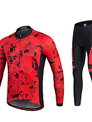 cheap -Miloto Men's Women's Long Sleeve Cycling Jersey with Tights Red black Bike Clothing Suit 3D Pad Quick Dry Reflective Strips Sweat-wicking Winter Sports Spandex Coolmax® Mountain Bike MTB Road Bike