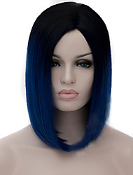 cheap -Synthetic Wig Straight kinky Straight kinky straight Straight Bob Wig Medium Length Navy Blue Synthetic Hair Women's Middle Part Bob Natural Hairline Blue