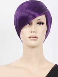 Недорогие -Парики из искусственных волос Прямой Прямой силуэт Парик Короткие Лиловый Искусственные волосы Жен. Фиолетовый