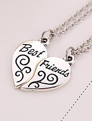 cheap -Women's Pendant Necklace Engraved 2 pcs Matching Broken Heart Friends Heart Love life Tree Best Friends Ladies European Sister everyday Silver Plated Alloy Silver Necklace Jewelry 2pcs For Thank You