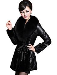 abordables -Femme Sortie Rétro Vintage Hiver Grandes Tailles Normal Veste de cuir, Couleur Pleine Col châle Manches Longues Bordure en Fourrure Noir