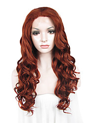 cheap -Synthetic Lace Front Wig Wavy Wavy Lace Front Wig Auburn Synthetic Hair Women's Red