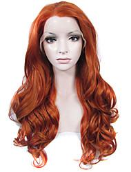Недорогие -Парики из искусственных волос Волнистый Волнистый Лента спереди Парик Длинные Оранжевый Искусственные волосы Жен. Природные волосы Боковая часть Красный