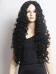 cheap -Synthetic Wig Curly Curly Lace Front Wig Long Black Synthetic Hair Women's African American Wig Black