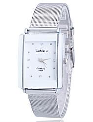 cheap -Women's Wrist Watch Square Watch Quartz Stainless Steel Gold Rhinestone Imitation Diamond Analog Ladies Flower Casual Leopard Fashion - Silver One Year Battery Life / Tianqiu 377
