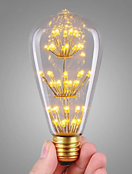 cheap -1pc 3 W LED Filament Bulbs 200 lm E26 / E27 ST64 47 LED Beads COB Decorative Starry Christmas Wedding Decoration Warm White 220-240 V / RoHS