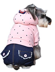 cheap -Dog Hoodie Jumpsuit Dog Clothes Polka Dot Purple Green Pink Polar Fleece Cotton Costume For Spring &  Fall Winter Men's Women's Casual / Daily Fashion