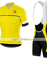 cheap -KEIYUEM Men's Women's Short Sleeve Cycling Jersey with Bib Shorts Bike Clothing Suit Breathable Quick Dry Back Pocket Sweat-wicking Sports Coolmax® Mesh Silicon Classic Clothing Apparel / Stretchy