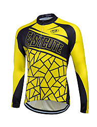 cheap -Fastcute Men's Long Sleeve Cycling Jersey Winter Fleece Coolmax® Velvet Yellow Bike Sweatshirt Jersey Top Thermal / Warm Fleece Lining Breathable Sports Clothing Apparel / Quick Dry / Stretchy