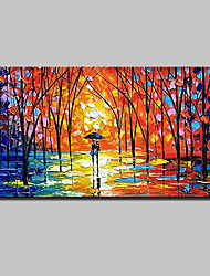 cheap -Oil Painting Hand Painted - Abstract Landscape Abstract Landscape Modern With Stretched Frame / Stretched Canvas With Stretched Frame