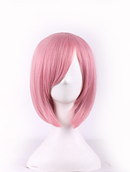 cheap -Synthetic Wig Cosplay Wig Straight Kardashian Straight Bob With Bangs Wig Pink Short Pink Synthetic Hair Women's Side Part Pink