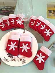 cheap -12PCS Christmas Socks Christmas Snowflakes Socks Tableware Sets Christmas Knife and Fork bags