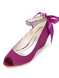 cheap -Women's Heels Wedge Heels Wedge Heel Ribbon Tie Silk Spring / Summer Black / White / Purple / Wedding / Party & Evening