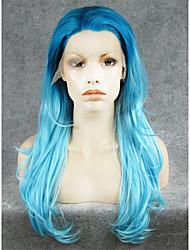 Недорогие -Синтетические кружевные передние парики Естественные волны Естественные волны Лента спереди Парик Светло-синий Искусственные волосы Жен. Синий