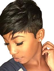 Недорогие -Человеческие волосы Парик Естественные волны Короткие Прически 2019 Прически Холли Берри Естественные волны Природа Черный Без шапочки-основы Жен. Черный