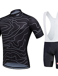 cheap -Fastcute Men's Short Sleeve Cycling Jersey with Bib Shorts Black Plus Size Bike Bib Shorts Jersey Bib Tights Breathable 3D Pad Quick Dry Sweat-wicking Sports Polyester Lycra Lines / Waves Mountain