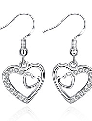 cheap -Women's Cubic Zirconia Drop Earrings Heart Love Hollow Heart Ladies Luxury European Fashion Sterling Silver Zircon Cubic Zirconia Earrings Jewelry White For Party Casual Valentine / Gold Plated