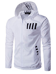 cheap -Men's Sport / Weekend Active Spring / Fall / Winter Regular Jacket, Letter Hooded Long Sleeve Polyester White / Black