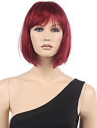 cheap -Synthetic Wig Straight Straight Bob With Bangs Wig Short Black / Burgundy Synthetic Hair Women's Red