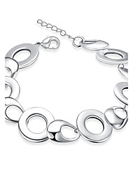 cheap -Women's Chain Bracelet Hollow Out European Fashion Sterling Silver Bracelet Jewelry White For Daily Casual / Silver Plated