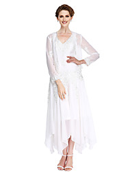 cheap -A-Line V Neck Asymmetrical Chiffon / Beaded Lace Long Sleeve Convertible Dress Mother of the Bride Dress with Beading / Appliques 2020