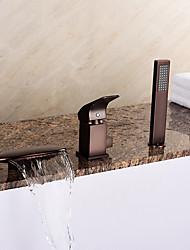 cheap -European Style Tub Waterfall/ Handshower  oil-rubbed bronze Three Holes Bathtub Faucet