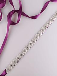 cheap -Satin Wedding / Party / Evening / Dailywear Sash With Rhinestone / Beading Women's Sashes