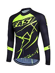 cheap -Fastcute Men's Women's Long Sleeve Cycling Jersey Winter Fleece Polyester Coolmax® Light Green Dark Green Plus Size Bike Sweatshirt Jersey Top Mountain Bike MTB Road Bike Cycling Thermal / Warm