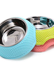 cheap -Cat Dog Bowls & Water Bottles / Feeders Stainless Steel Rubber Portable Foldable Yellow Blue Pink Bowls & Feeding