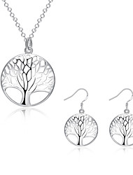 cheap -Women's Jewelry Set Pendant Necklace Necklace / Earrings Ladies European Fashion Sterling Silver Silver Plated Earrings Jewelry Gold / White For Daily Casual