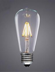 cheap -1pc 4 W LED Filament Bulbs 350 lm E26 / E27 ST64 4 LED Beads COB Decorative Warm White Cold White 220-240 V / 1 pc / RoHS