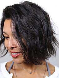 abordables -Perruque Cheveux Naturel humain Full Lace Cheveux Brésiliens Ondulation Bob Coupe Carré Femme avec des cheveux de bébé Ligne de Cheveux Naturelle Perruque afro-américaine 100 % Tissée Main Court Moyen