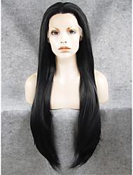 Недорогие -Синтетические кружевные передние парики Прямой Прямой силуэт Лента спереди Парик Длинные Оранжевый Черный Искусственные волосы Жен. Природные волосы Прямой пробор Черный Оранжевый