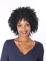 abordables -Perruque Cheveux Naturel humain Full Lace Cheveux Brésiliens Kinky Curly Bob Coupe Carré Femme avec des cheveux de bébé Ligne de Cheveux Naturelle Perruque afro-américaine 100 % Tissée Main Court