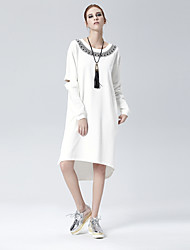 cheap -Women's Daily Casual Loose A Line Dress - Solid Colored Cut Out Spring White Black Gray