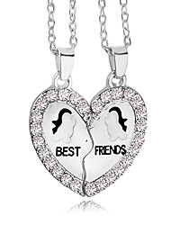 cheap -Men's Women's Pendant Necklace Engraved Broken Heart Heart life Tree Best Friends Friendship Relationship Work Casual Love Heart Rhinestone Silver Plated Alloy Silver Necklace Jewelry For Thank You