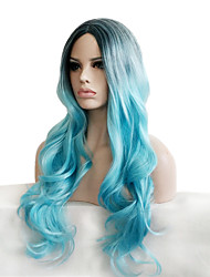 cheap -Synthetic Wig Curly Curly Wig Long Smoke Blue Synthetic Hair Women's Ombre Hair Dark Roots Natural Hairline Blue
