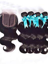 cheap -Hair Weaves Peruvian Hair Straight Body Wave Human Hair Extensions Human Hair Hair Weft with Closure