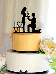cheap -Cake Topper Classic Theme Classic Couple Acrylic Wedding with Flower 1 pcs Gift Box