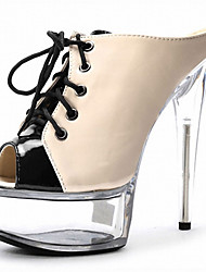 cheap -Women's Heels Cross-Strap Sandals Stiletto Heel / Platform Lace-up Patent Leather LED Shoes / Club Shoes / Lucite Heel Summer / Fall Black / Nude / White / Party & Evening / Party & Evening
