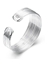 cheap -Women's Cuff Bracelet Statement Ladies European Simple Style Fashion Sterling Silver Bracelet Jewelry White For Party Daily Casual / Silver Plated