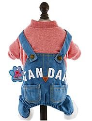 cheap -Dog Jumpsuit Winter Dog Clothes Light Blue Yellow Pink Costume Corduroy Jeans Holiday Fashion XS S M L XL