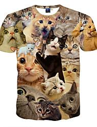 cheap -Men's Daily Sports Formal T-shirt - Animal Print Black / Short Sleeve